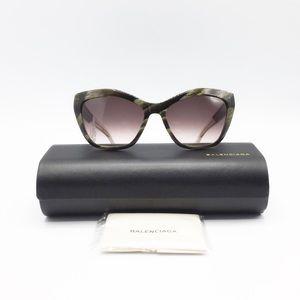 Balenciaga Cat Eye Green Horn Tortoise Sunglasses
